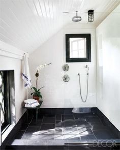Ahhh... no glass doors to clean, no shower curtain and lots of light... perfect!   Bungalow Blue Interiors - Home