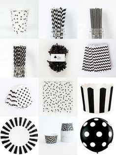 black and white party supplies