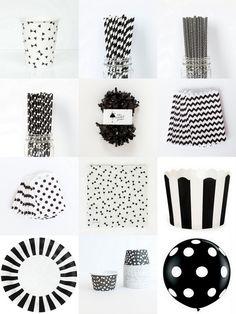 Black + White Party Supplies | The TomKat Studio
