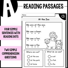 LEVEL A Reading Comprehension Passages - Kindergarten Speech Therapy Activities, Reading Activities, Teaching Reading, Guided Reading, Kindergarten Learning, Preschool, Reading Comprehension Worksheets, Reading Passages, Reading Strategies