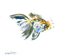 Acuarela original de peces de colores 10 X 8 en la pintura