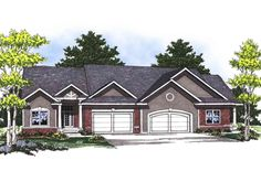 Traditional Ranch Duplex - 89253AH | 1st Floor Master Suite, CAD Available, PDF | Architectural Designs