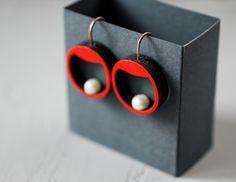 Red dangle earrings  Pearl earrings  Small hoop by TanukDolotova   #earrings #jewellery #handmadejewelry #wood #pearl #summer #red #fashionjewelry #statementjewelry #etsyseller #accessory #geometryjewelry #modernjewelry #contemporaryjewelry #designjewelry #design #jewelry #handmade #woodjewelry #etsyfinds #tanukdolotova