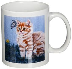 3dRose Tabby Cat Staring, Butterfly Orange White Stripe Blue Crackled Background, Ceramic Mug, 11-Oz *** Quickly view this special cat product, click the image : Cat mug