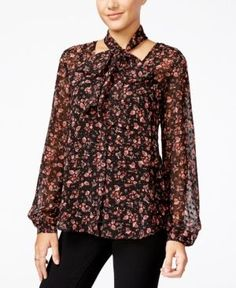Jessica Simpson Cerena Printed Peasant Blouse with Scarf - Red XXS