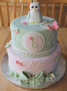 owl themed baptism cake