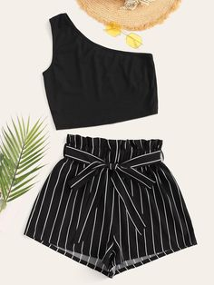 Shein One Shoulder Top & Striped Paperbag Waist Shorts Set Source by SmithHensley outfits verano Cute Girl Outfits, Cute Summer Outfits, Cute Casual Outfits, Pretty Outfits, Stylish Outfits, Girls Fashion Clothes, Summer Fashion Outfits, Fashion Sets, Jugend Mode Outfits