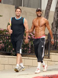 Jamie Lomas and Ricky Whittle Ricky Whittle, American Gods, Hot Guys, Hot Men, Candid, Cover Up, Sporty, Workout, Celebrities