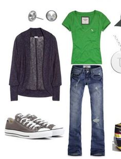 Casual - jeans, bright green tee, grey Converse, dark grey cardigan