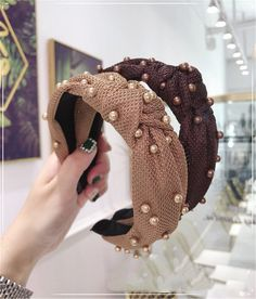 Pearl fabric knot headband designer inspired on trend knotted | Etsy Twist Headband, Pearl Headband, Knot Headband, Vintage Headbands, Floral Headbands, Headbands For Women, Designer Headbands, Bohemian Headband, Stretchy Headbands