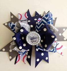 GO Yankees!  Boutique style baseball team colors hand sewn ribbon bows w/tails and a team embellishment center Pictures Photographer Prop