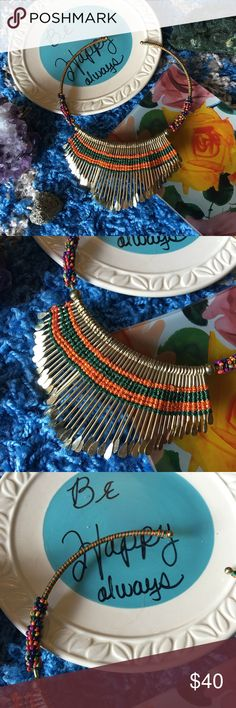 Vintage-boho multicolor beaded collar necklace Beautiful and never worn Jewelry Necklaces