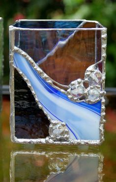 Stained Glass Candle Holder Waterfall great gift by DianeMarieArt, $45.00
