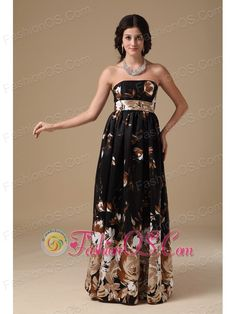 Multi-color Empire Strapless Floor-length Printing Prom Dress  http://www.fashionos.com   zipper up back prom dress   2013 popular prom dress for formal evening   high end low price   cheap prom dress around 150   wholesale prom dress   social activities club   premiere prom   online shop   venice film festival    This floor length strapless printed chiffon prom dress is featured by a bow at the back of the waistband.