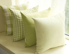 French Country Check Stripe Green Decorative Pillows Cushion Cover Pillow Case Sham P Style