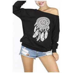 New Arrival Stylish Dream Catcher Print Off the Shoulder Sweatshirt (1,740 INR) ❤ liked on Polyvore featuring tops, hoodies, sweatshirts, off the shoulder sweatshirt, long tops, patterned tops, off-the-shoulder sweatshirt and patterned sweatshirt