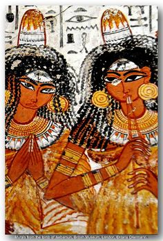 """NEBAMUN TOMB FRESCOES (1 of 11 restored Nebamun tomb frescoes)  --  Nebamun was an Egyptian """"scribe  counter of grain"""" during the New Kingdom.  His tomb in Thebes, the location of which is now lost, featured the famous Pond in a Garden false fresco painting.  Nebamun's name is translated as """"My Lord is Amun"""" and he is thought to have lived circa 1500 BCE.  The paintings were hacked from the tomb wall and purchased by a British collector who in turn sold them to the British Museum in 1821."""