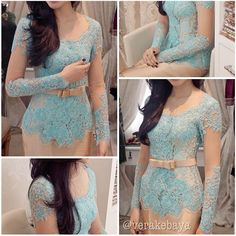 Gorgeous Mint Party Kebaya. Follow @Vera Kulikova Kulikova Anggraini for details.