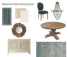 Room In A Box: Bohemian Glam - The Interior Design Advocate Damask Wallpaper, Breath Of Fresh Air, Dining Room Design, Rustic Wood, Bohemian, Interior Design, Box, Table, Furniture