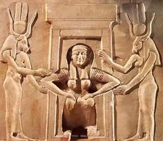 A squatting woman giving birth, assisted by two goddesses (Hathor and Taweret),   from the Temple of Hathor at Dendera