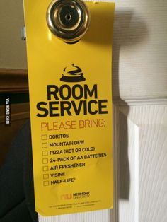 This would be a good room service tag to put to use....lol