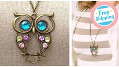 Vintage Jeweled Owl Necklace