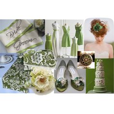 olive green wedding, created by tweeterj on Polyvore - Accent color