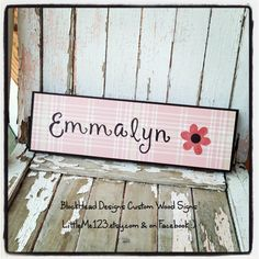 Custom wood and paper sign, great gift for little girl, boy, adult, wedding, Christmas, birthday and more.  This one is in pink and brown with flower.  BlockHead Designs custom wood signs.