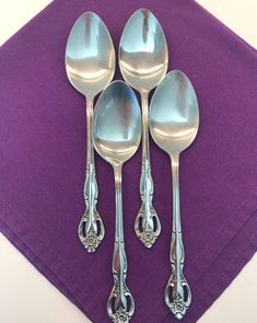 Riviera Stainless Flatware Japan RIF 11 Lot Of 4 Tablespoons Spoons Flower Dinnerware Sets, China Dinnerware, Passover Recipes, Passover Meal, Stainless Steel Flatware, Guest Towels, Vintage Christmas Ornaments, Cut Outs, Spoons