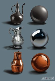 Hey what is up guys. I needed to practice on painting some metal textures so I don't get . I did Iron, chrome and copper .have a nice one guys. Metal Drawing, Texture Drawing, 3d Texture, Metal Texture, Light Texture, Digital Painting Tutorials, Digital Art Tutorial, Art Tutorials, Art Sketches