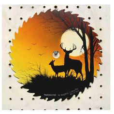 Round sawblade two deers in silo against moonlit sky Tole Painting, Painting On Wood, Painting & Drawing, Arte Country, Pintura Country, Painted Rocks, Hand Painted, Silhouette Painting, Deer Silhouette