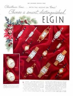 Elgin watches ad from 1936. The Saturday Evening Post.