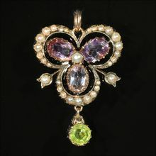 Antique Amethyst, Pearl and Peridot Pendant in 15k Gold, Suffragette c. 1910