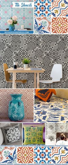 Paint floors, walls, and kitchen backsplash with DIY faux tile pattern - Tile Stencils from Royal Design Studio for easy and affordable home decorating - Colorful European Spanish Tile Designs