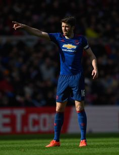 Michael Carrick of Manchester United reacts during the Premier League match between Middlesbrough and Manchester United at Riverside Stadium on March 19, 2017 in Middlesbrough, England.