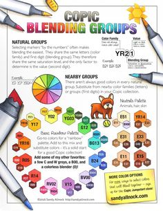 Copic Markers Tutorial: How to use Blending Groups. By: Sandy Allnock Copic Copic Marker Art, Copic Pens, Copic Art, Copics, Prismacolor, Copic Marker Color Chart, Marker Crafts, Copic Sketch Markers, Copic Markers Tutorial