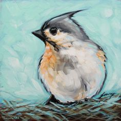 Tufted Titmouse bird painting 6x6 inch original oil by LaveryART, $60.00