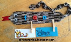 Blending Snake Cards {CVC words} FREE and how to make a blending snake from a tie!