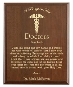 Doctors Prayer Plaque | Personalized Doctor Gift | A Doctor's Prayer for Medical Professionals Doctors Day Quotes, Happy Doctors Day, Doctors Office Decor, Medical Office Decor, Medical Quotes, Nurse Quotes, Surgery Prayer, Doctor Quotes, Medical Gifts