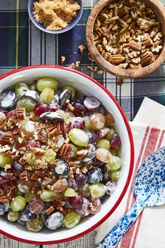 A dash of brown sugar and handful of pecans give this easy-to-make grape salad a sugary sweet taste.