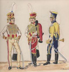Naples; Garde Royale, Regiment of Velites a Cheval, Sous-Officer(French), Tenue de Ville, 5th Company Velite both 1811-12 * 2nd Company, trumpeter, Petite Tenue, 1809-11 by H.Boisselier