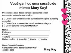 Você ganhou uma sessão de Mary Kay Ash, Mary Kay Brasil, Eye Makeup Tips, Your Skin, Thats Not My, How To Make, Personal Organizer, Pasta, Scripts
