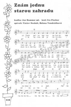 Znám jednu.krásnou zahradu Sheet Music, Music Sheets, Ukulele, Singing, Preschool, Teaching, Humor, Education, Kids