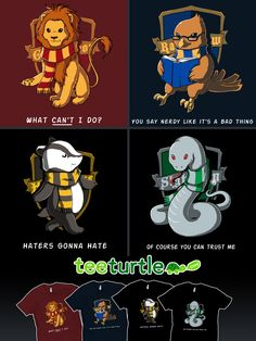 HP House Emblems by *ramy Hogwarts T-shirts I want the Slytherin one soooo bad!