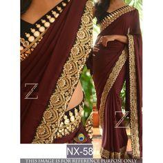Fabulouos coffee embroidered saree