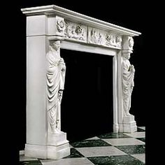 A SUBSTANTIAL ENGLISH REGENCY CHIMNEYPIECE in the Greek Revival manner richly carved in white statuary marble. The wide moulded shelf above the frieze centred by a tablet carved in relief depicting a possible Pompeiian scene of a Noblewoman with maidservant consulting an academic or mystic.This is flanked by riband tied flowering cornucopiae, the end blocks carved with anthemion. The projecting endblocks carved with delicately pierced round floral Paterae supported on barefooted Vestal…
