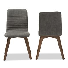 Baxton Studio Sugar Mid-century Retro Modern Scandinavian Style Dark Grey Fabric Upholstered Walnut Finish Dining Chair Set, 2 | Overstock.com Shopping - The Best Deals on Dining Chairs