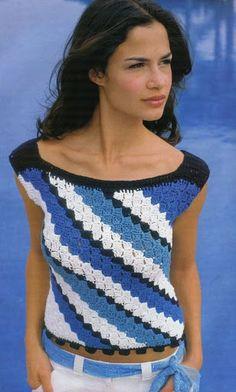 CARAMELO DE CROCHET: blusa azul