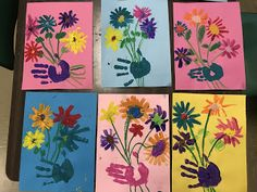 Elements of the Art Room: Kindergarten Hand print Spring Bouquets #kindergartenart #mothersday #mothers #mothersdayart