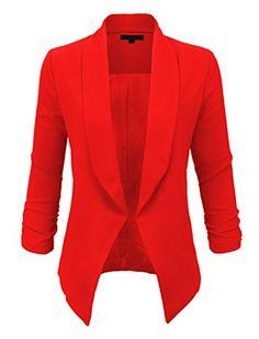 LE3NO Womens Textured 3/4 Sleeve Open Blazer Jacket, L3NWJC1196- RED, Medium